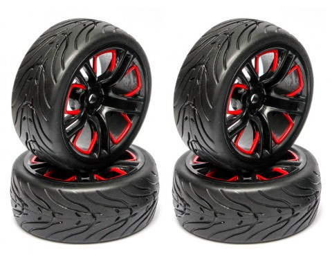 1/10 Touring Wheel /Tire Set - Lambo Rims Pattern A& Devil Rubber Tire w/Insert Non-Glued (4) Red