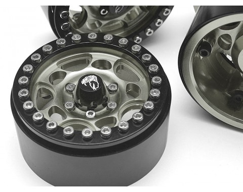 Sandstorm KRAIT™ 1.9 Aluminum Beadlock Wheels with 8mm Wideners (4) [Recon G6 Certified] Gun Metal