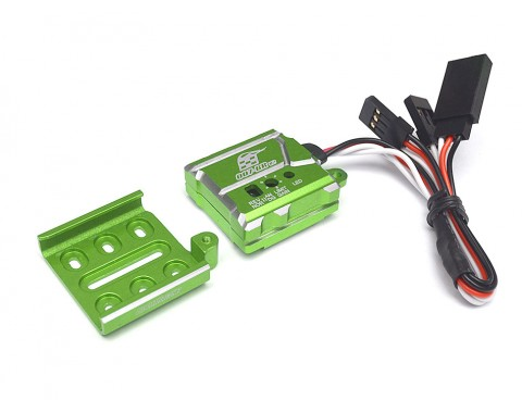 007 RC Car Gyro High Stability Aluminum Gyroscope For Drift RWD With Universal Mounting Tray - 1 Set Green