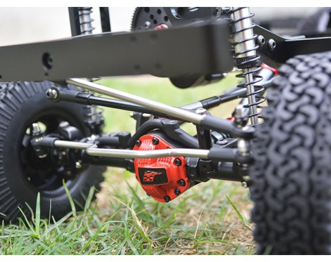 Complete Assembled Scale PHAT Front Axle Version 2 for D90/D110 Red