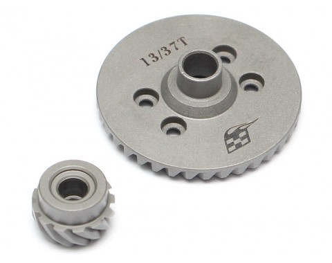 Rear Heavy Duty Steel Helical Spiral Differential Ring & Pinion Gear (37T/13T) for All Traxxas 4WD 4X4