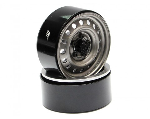1.9 Badass Classic 16-Hole Steelie & CNC Aluminum Beadlock Wheels W/ Center Hubs (Front) 2pcs Gun Metal
