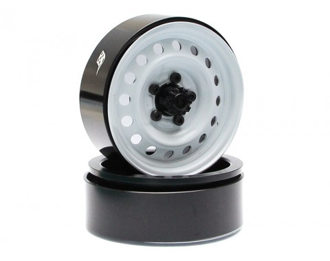 1.9 Narrow 21mm Badass Classic 16-Hole Steelie & CNC Aluminum Beadlock Wheels w/ Center Hubs (Front) 2pcs White