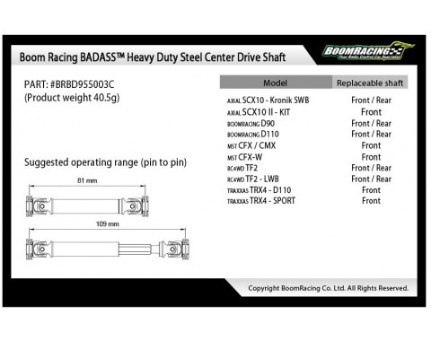 BADASS™ HD Steel Center Drive Shaft Set for Axial SCX10 II Kit Front & Rear (2) [Recon G6 Certified]