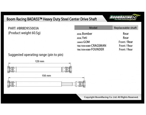 BADASS™ HD Steel Center Drive Shaft Set for Gmade GOM Front & Rear (2) [Recon G6 Certified]
