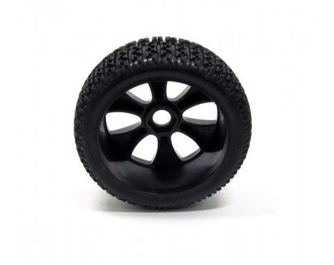 1/8 Buggy Wheel & Tire Set 5-Spoke Pattern 4 (2) With Molded Inserts Off Road Black