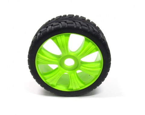 1/8 Buggy Wheel & Tire Set 5-spoke Pattern 3 (2) With Molded Inserts On Road Green