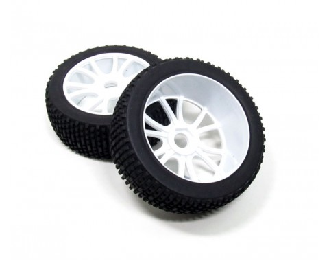 1/8 Buggy Wheel & Tire Set 12-spoke Pattern 2 (2) With Molded Inserts White