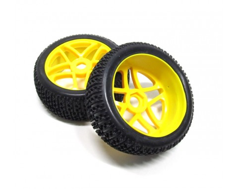 1/8 Buggy Wheel & Tire Set Dual 5-spoke Off Road (2) With Molded Inserts Yellow