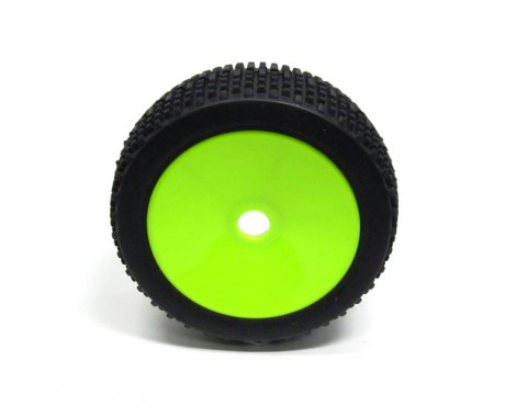 1/8 Buggy Dish Wheel & Tire Set Off Road (2) With Molded Inserts Green