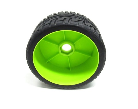 1/8 Buggy Dish Wheel & Tire Set On Road (2) With Molded Inserts Green