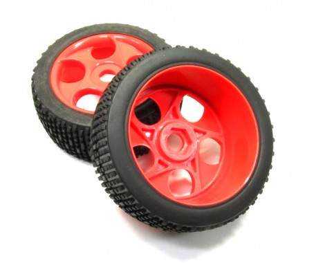 1/8 Buggy Wheel & Tire Set 5-hole With Inserts Pattern 2 (2) Red