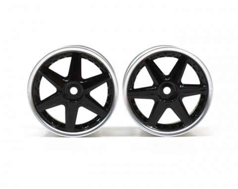 6-Spoke Wheel Set (2Pcs) Chrome For 1/10 RC Car (3mm Offset) Black