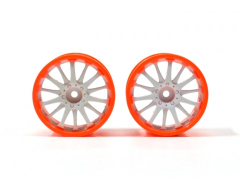 6-Spoke Orange Outer Ring Wheel Set (2Pcs) For 1/10 RC Car (3mm Offset) White