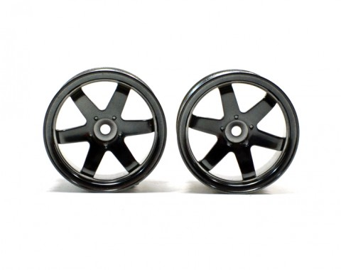 6-spoke Wheel Set (2pcs) Gun Metal For 1/10 RC Car (9mm Offset)