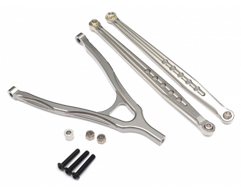 Aluminum Front Lower Chassis Linkage and Upper Y-Arm - 1 Set Silver
