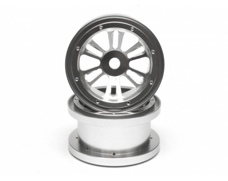 Aluminum D-6spoke Giga Beadlock 2.2 Wheels (2) Silver