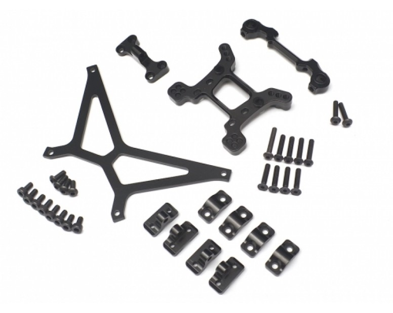 Axial Yeti Performance Combo Package E With Tool Box (Shock Tower,Front Body Mount Base,Front Bumper Mount Base,Battery Holder Strap) Black