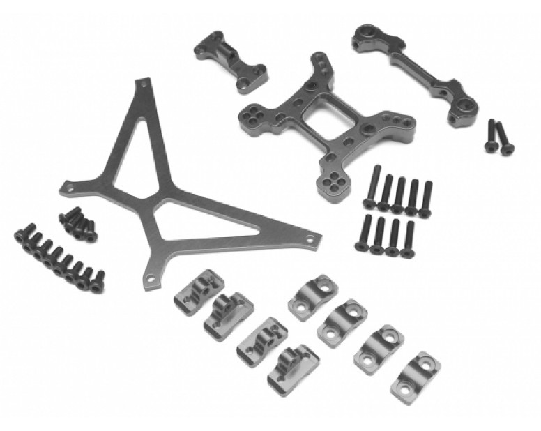Axial Yeti Performance Combo Package E With Tool Box (Shock Tower,Front Body Mount Base,Front Bumper Mount Base,Battery Holder Strap) Gun Metal