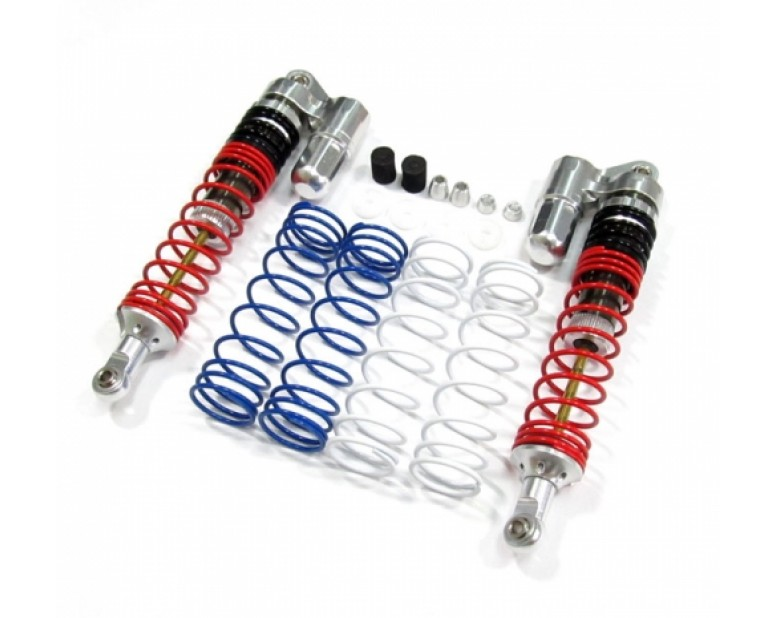 Boomerang™ Type PB Race Ready Aluminum Double Suspension Adjustable Piggyback Shocks 100MM Silver