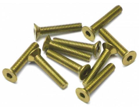 Aluminum 7075 M3x16 Hex Socket Flat Head Screws Bolts  (10) Yellow