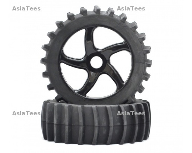 1/8 Buggy 5 Spoke wheel & Desert Tire Set (1 pair) Black