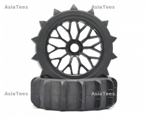 1/8 Buggy Y Spoke Wheel & Desert Tire Set (1 Pair) Black
