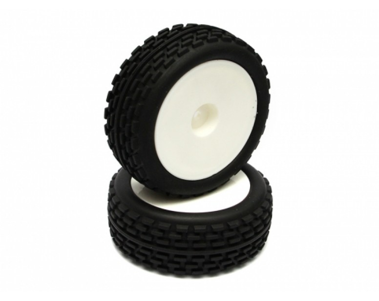1/10 Buggy Disk Pattern Tire Set - Front(1 Pair) White