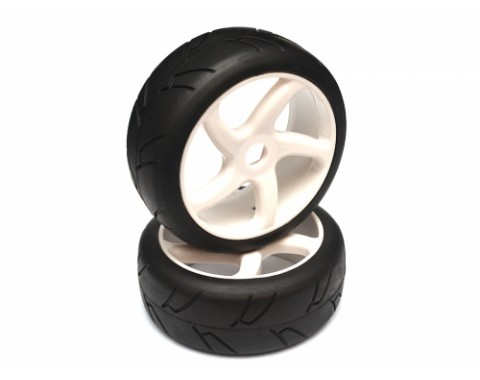 1/8 On-road 5-Spoke Wheel & Tire Set (1pair) White