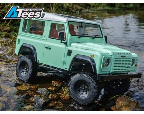 1/10 D90 Chassis Kit (Without Wheels Tires Shocks) w/ TRC Raffee Defender D90 2-Door Hard Body