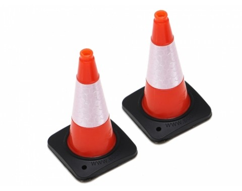 1/10 Rubber Traffic Cone with Reflective Decal (2) Orange