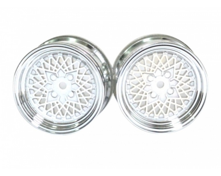 1:10 Scale Wheel Set (2pcs) Chrome  RC Car 26mm White