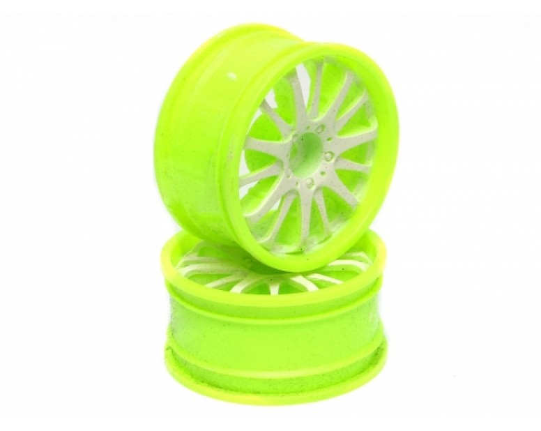 14-spoke Green Outer Ring Wheel Set (4pcs) For 1/10 RC Car 26mm White