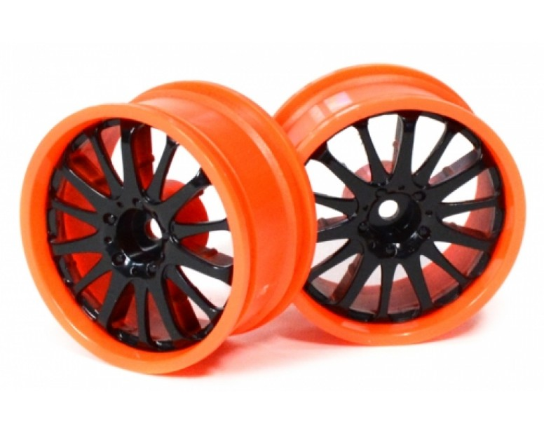 14-Spoke Orange Outer Ring Wheel Set (2Pcs) For 1/10 RC Car 26mm Black