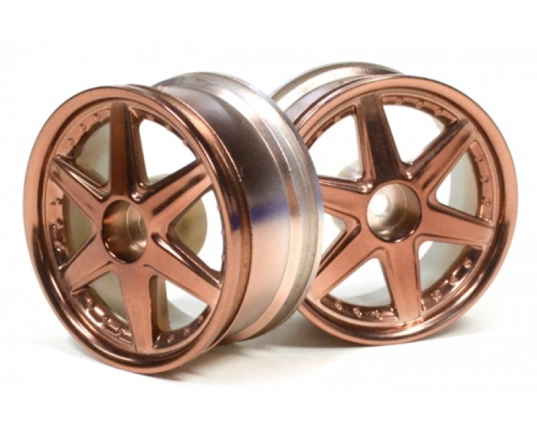 6-spoke Wheel Set (2pcs) Bronze For 1/10 RC Car (9mm Offset)