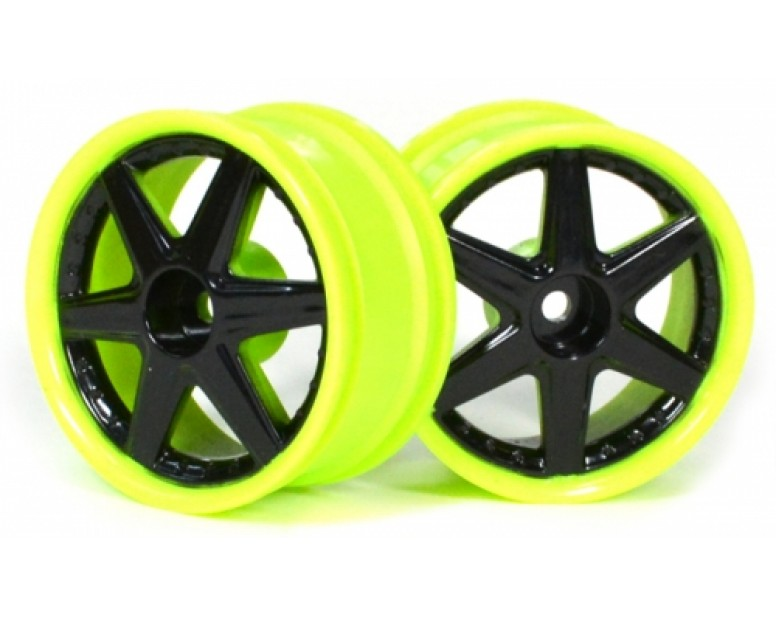 6-Spoke Green Outer Ring Wheel Set (2pcs) For 1/10 RC Car (6mm Offset) Black