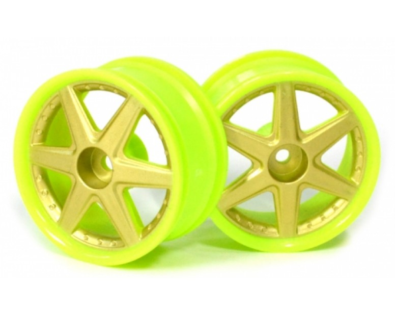 6-Spoke Green Outer Ring Wheel Set (2Pcs) For 1/10 Rc Car (6mm Offset) Gold