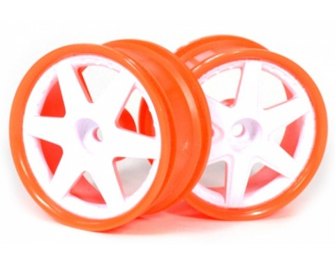 6-Spoke Orange Outer Ring Wheel Set (2Pcs) For 1/10 RC Car (6mm Offset) White