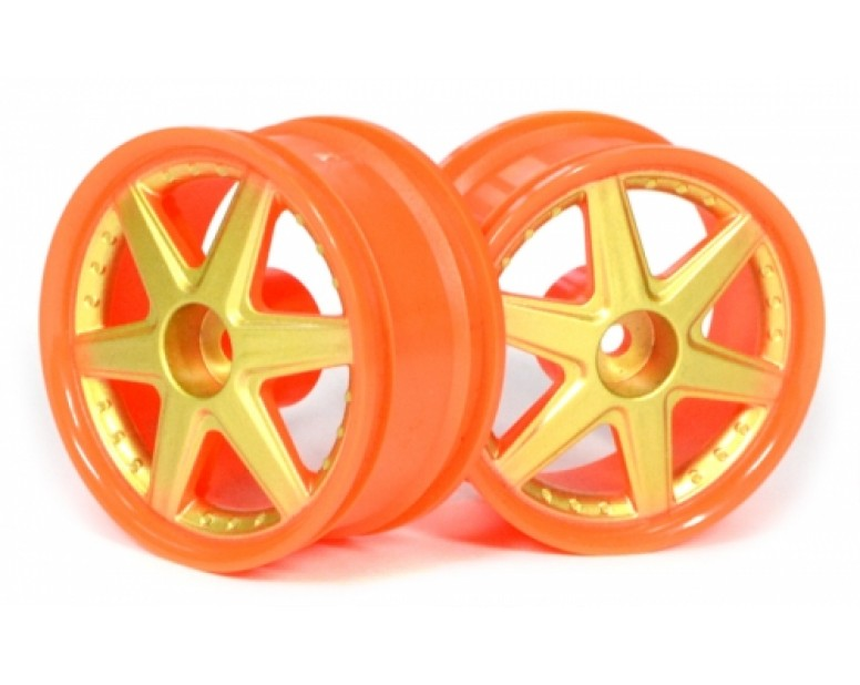 6-spoke Orange Outer Ring Wheel Set (2pcs) For 1/10 RC Car (9mm Offset)