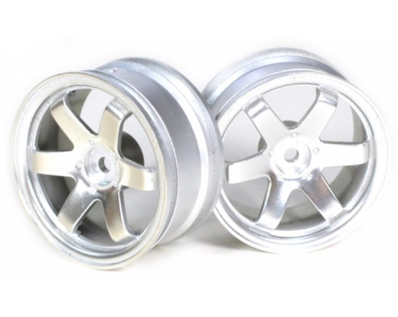 6-Spoke Wheel Set (2Pcs) Silver For 1/10 RC Car (3mm Offset)