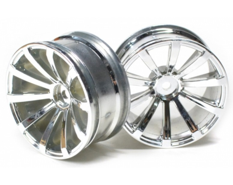 10-Spoke Wheel Set (2Pcs) Chrome/silver For 1/10 RC Car 26mm