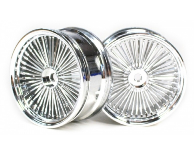 Wire Wheel Set (2Pcs) Chrome/silver For 10/10 RC Car 26mm