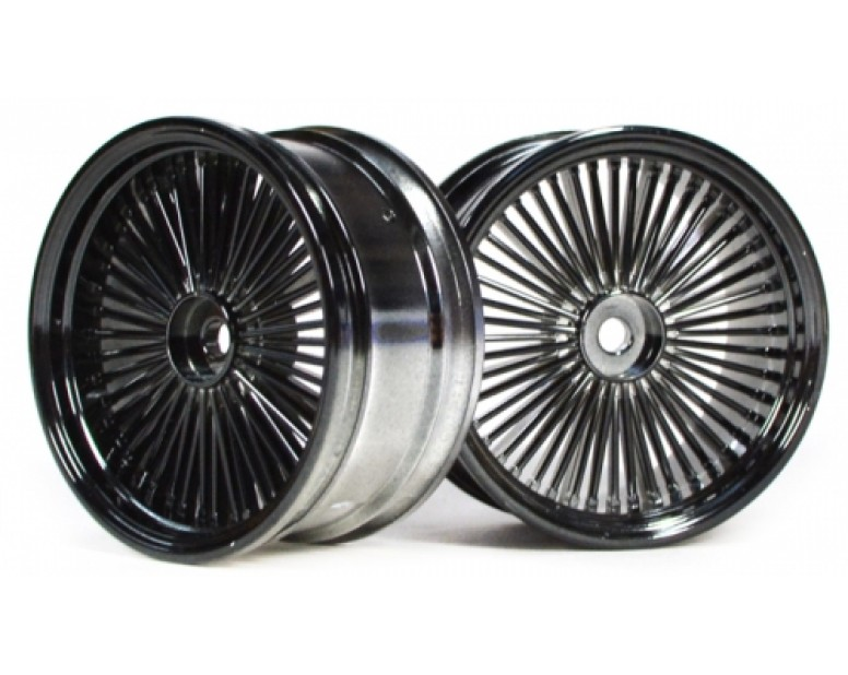 Wire Wheel Set (2Pcs) Chrome/black For 1/10 RC Car 26mm