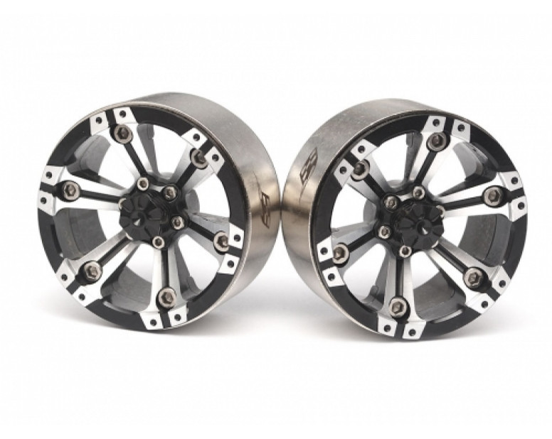 CHROMA™ 1.9 High Mass Beadlock Aluminum Wheels Spoke-6 (2) Style A Black [RECON G6 The Fix Certified]