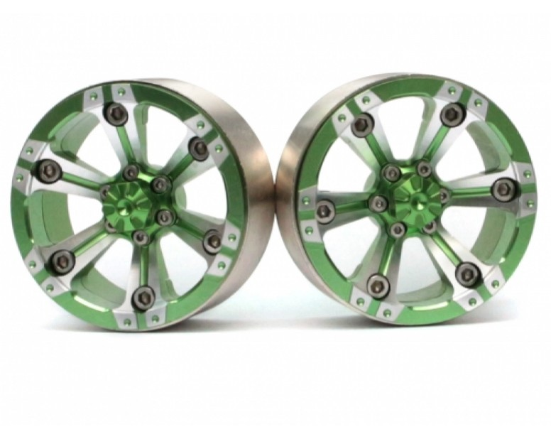 CHROMA™ 1.9 High Mass Beadlock Aluminum Wheels Spoke-6 (2) Style A Green [RECON G6 The Fix Certified]