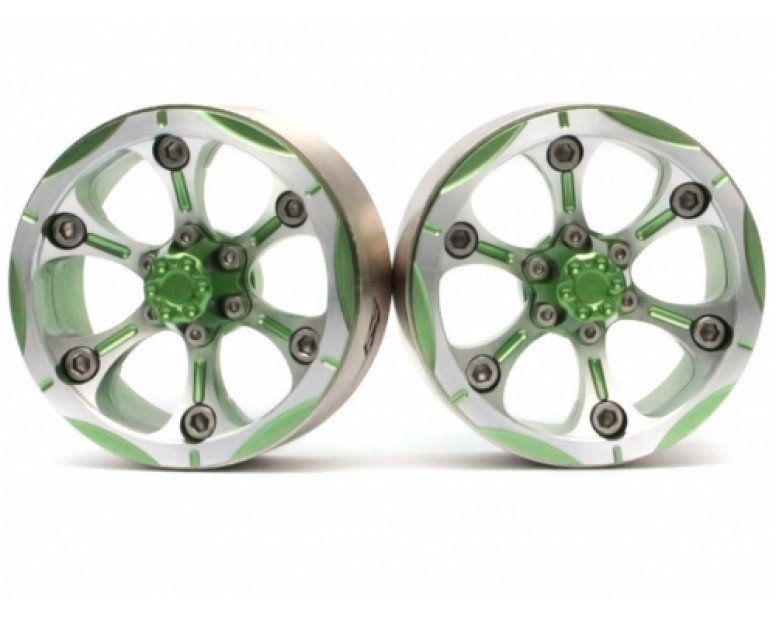 CHROMA™ 1.9 Chroma High Mass Beadlock Aluminum Wheels Spoke-6 Style B (2) Green [RECON G6 The Fix Certified]