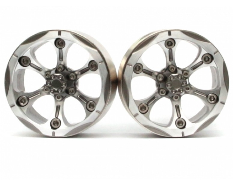 CHROMA™ 1.9 Chroma High Mass Beadlock Aluminum Wheels Spoke-6 Style B (2) Gun Metal [RECON G6 The Fix Certified]