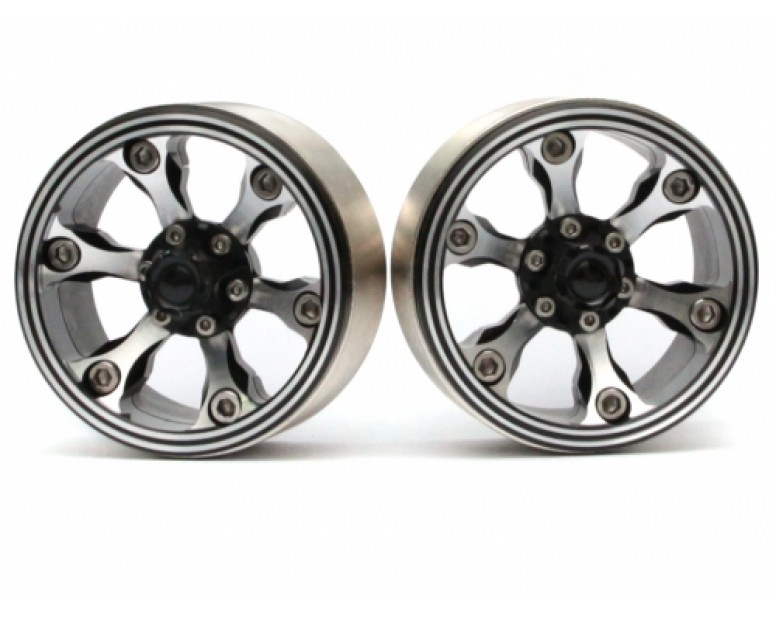 CHROMA™ 1.9 High Mass Beadlock Aluminum Wheels Spoke-6 Style C (2) Black [RECON G6 The Fix Certified]