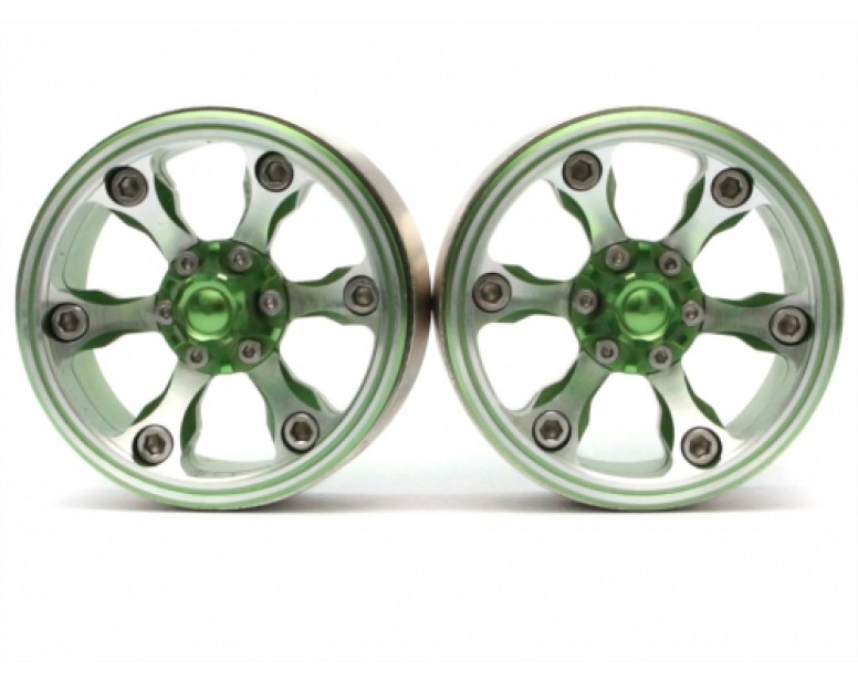 CHROMA™ 1.9 High Mass Beadlock Aluminum Wheels Spoke-6Style C (2) Green [RECON G6 The Fix Certified]