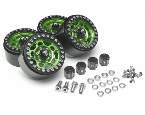 Sandstorm KRAIT™ 1.9 Aluminum Beadlock Wheels with 8mm Wideners (4) [Recon G6 Certified] Green